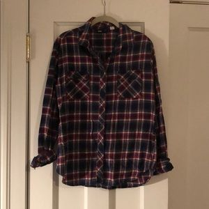 BDG red, white, blue flannel shirt, L